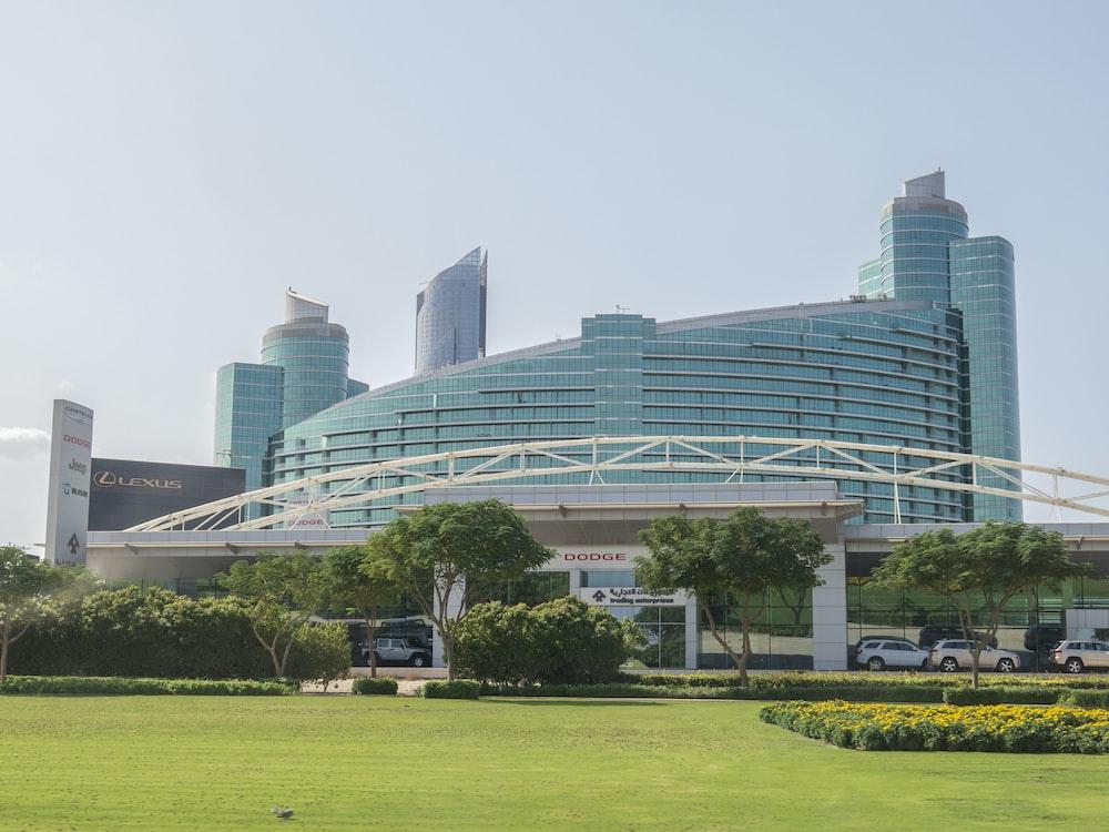blue high-rise building