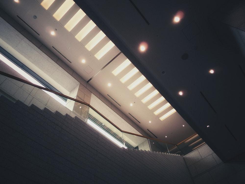 brown steel stair handrails photo