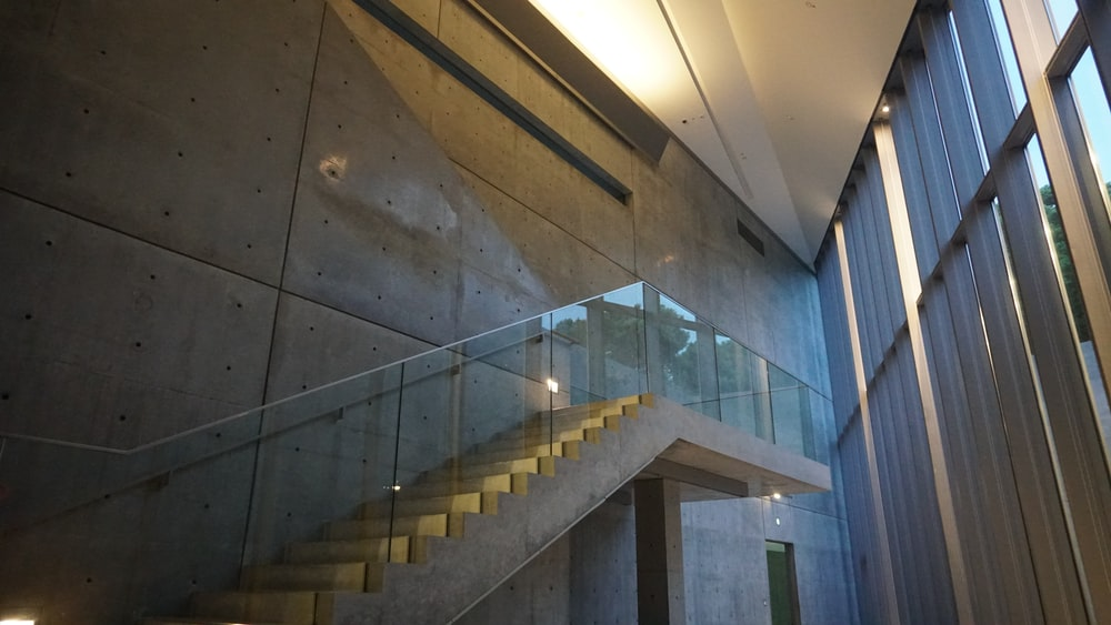 brown glass concrete stairs