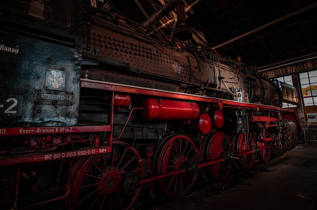 Historic Train with another maintenance cycle - In the engine shed most tools an machines are historic like the old locomotives.