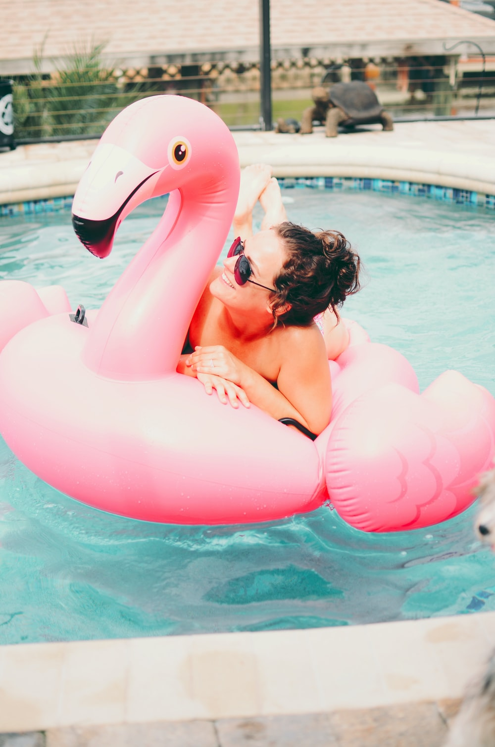 woman on pink inflatable flamingo on outdoor pool