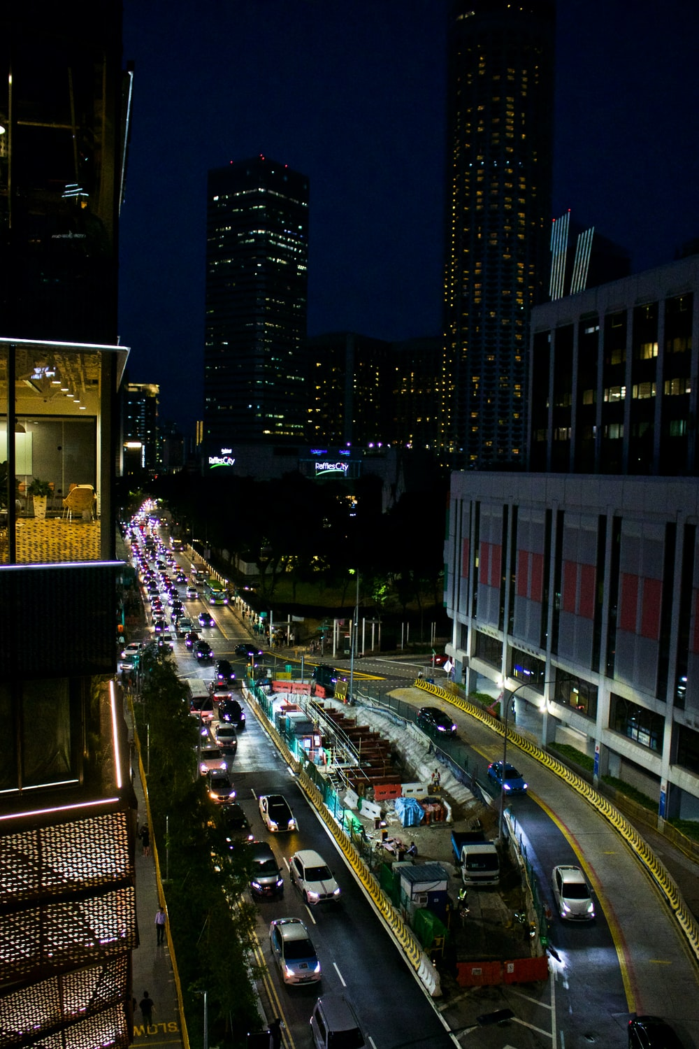 cars travelling at night