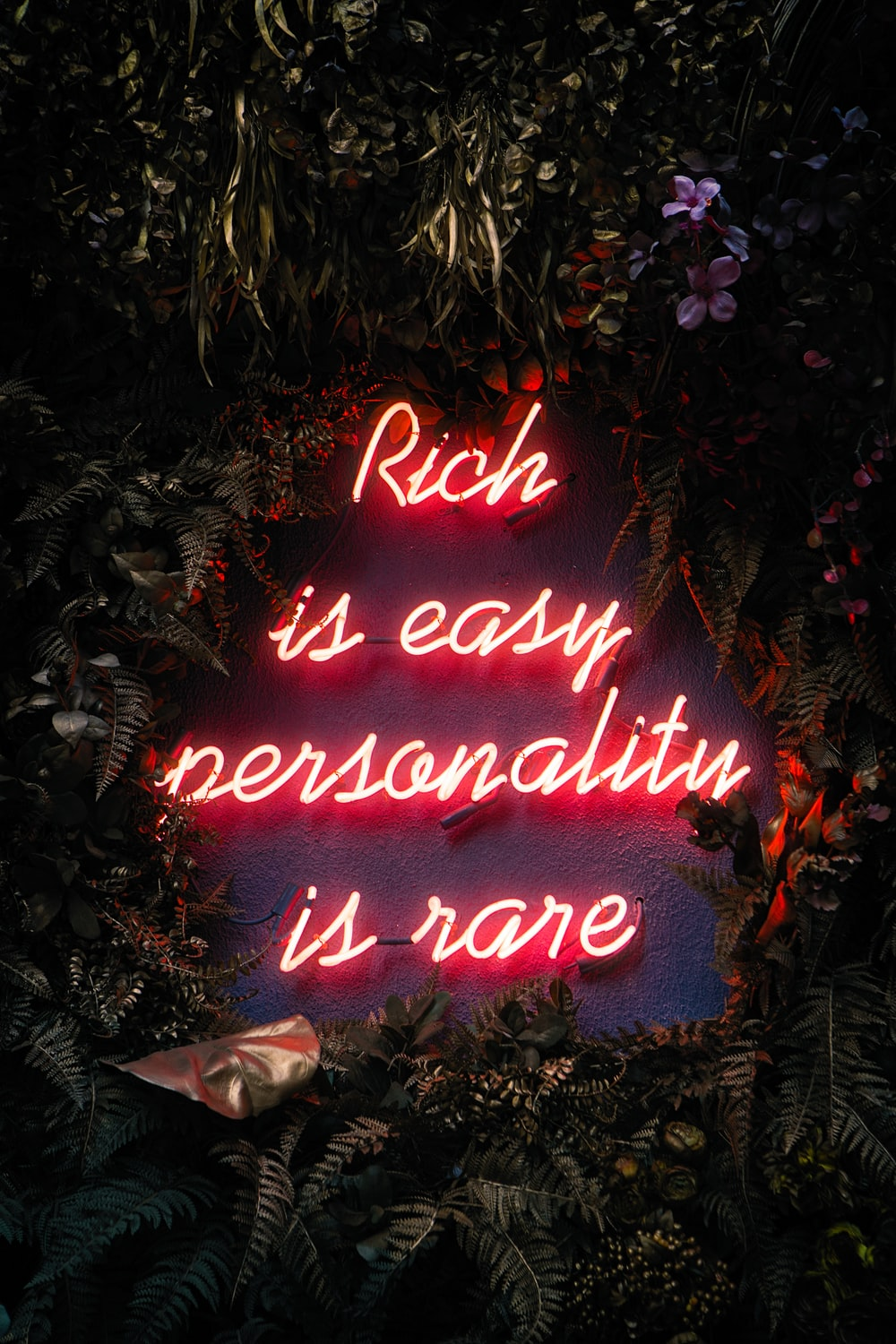 rich is easy personality is rare lighted decor