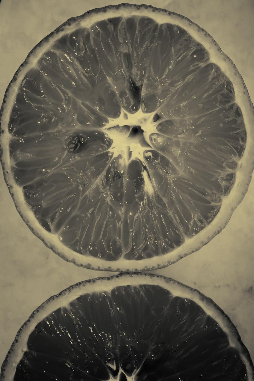 orange fruit gray-scale photography