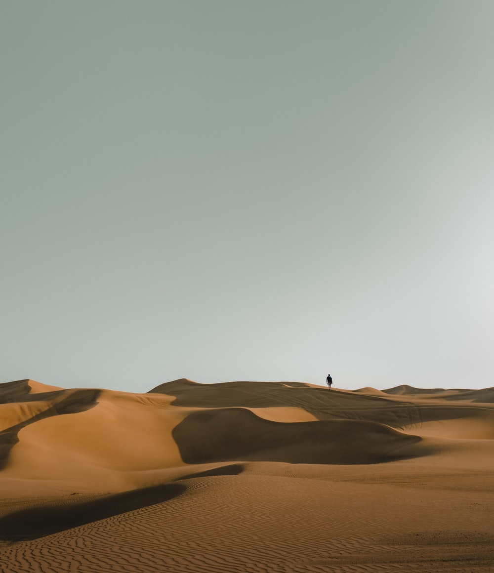 silhouette of person in desert during daytime
