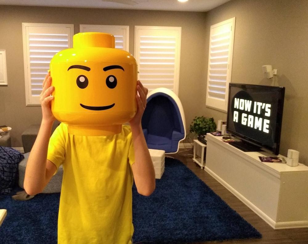 yellow Lego mask