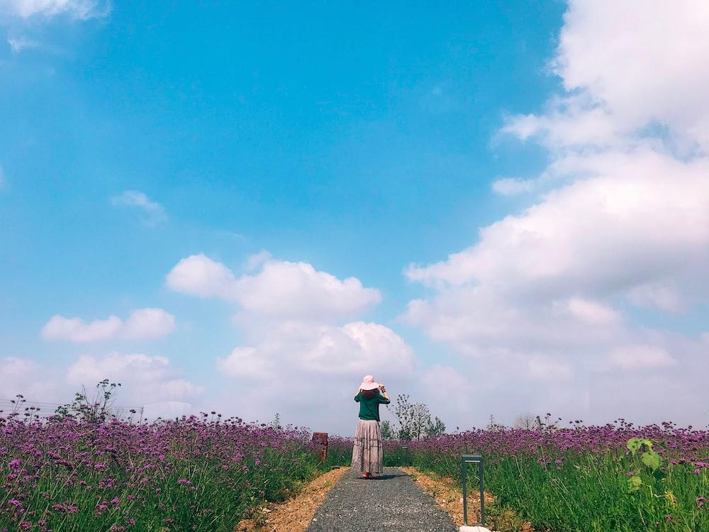 person standing near flower field