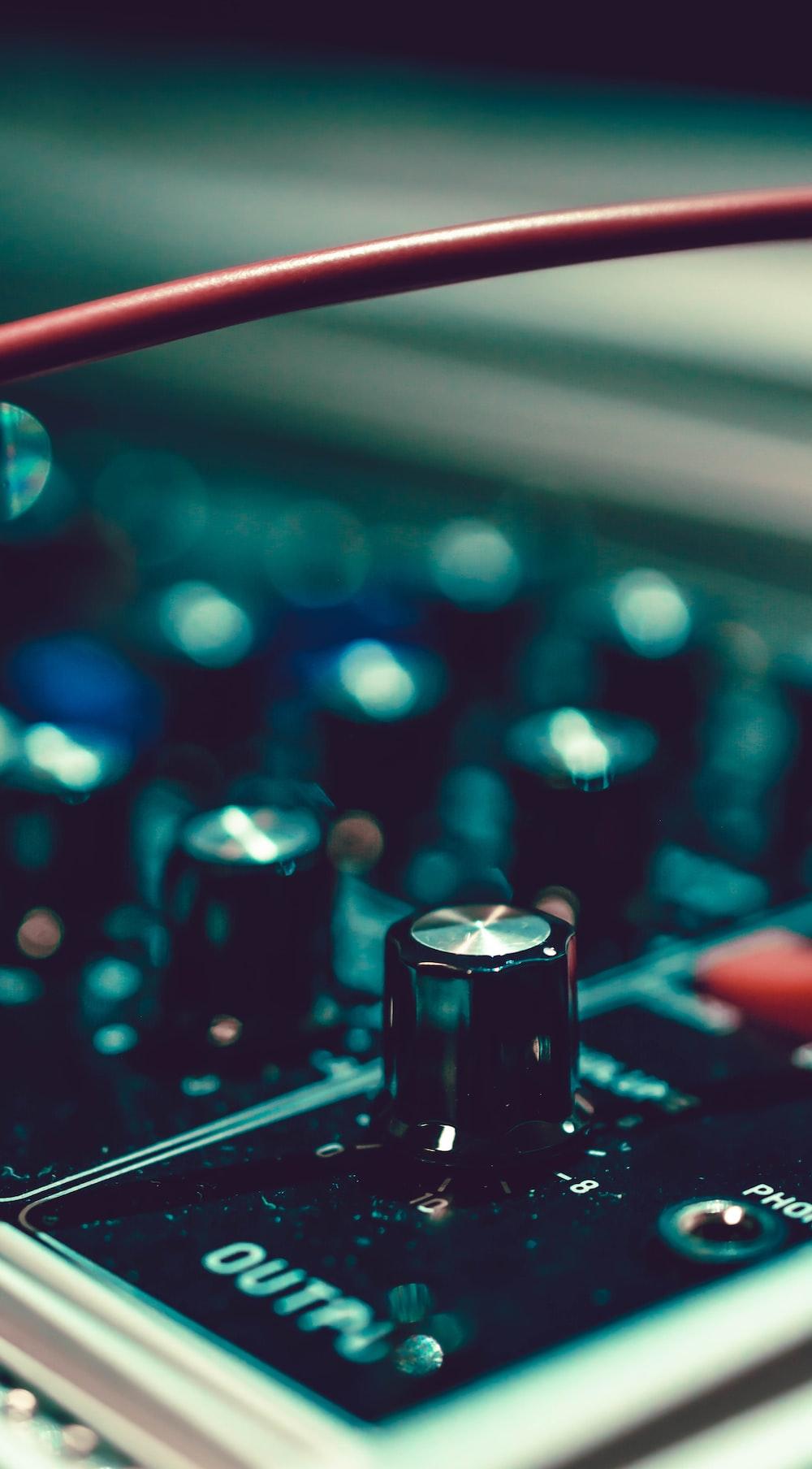 black and gray audio mixer close-up photo