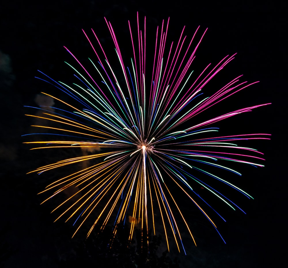 pink and yellow firework