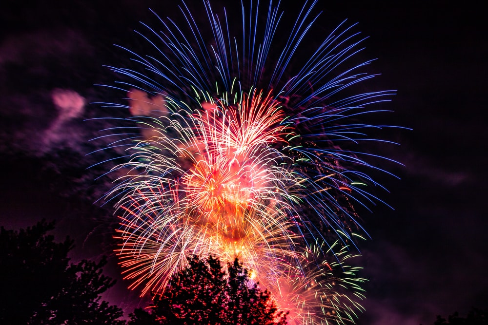 red and blue firework display
