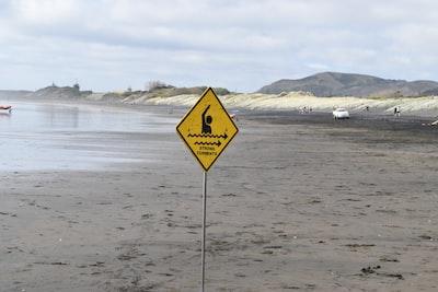 yellow pedestal signage