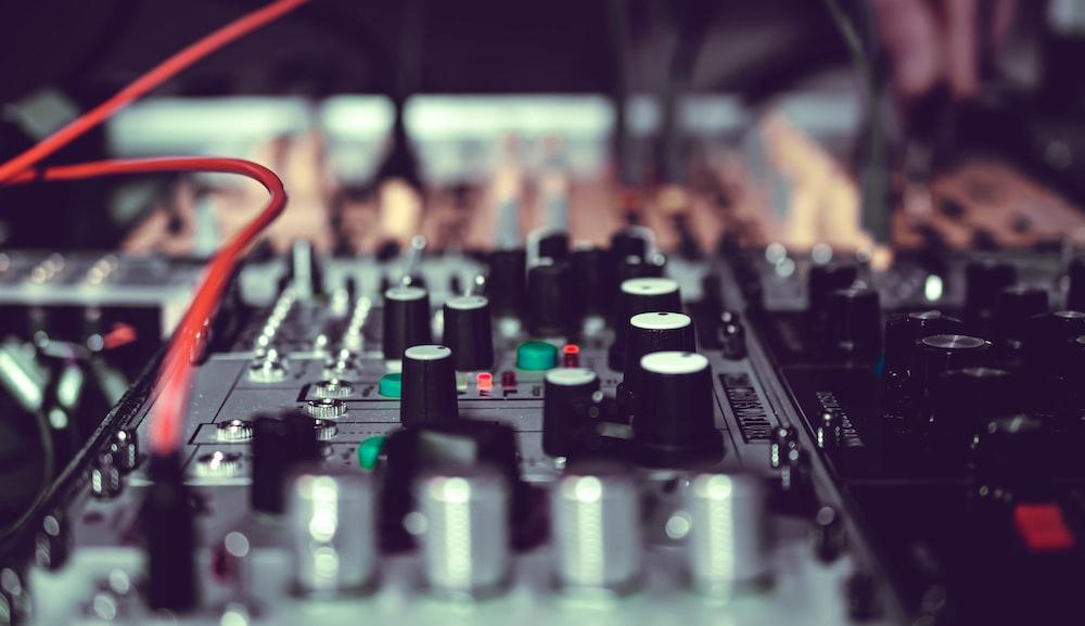 gray audio mixer close-up photo