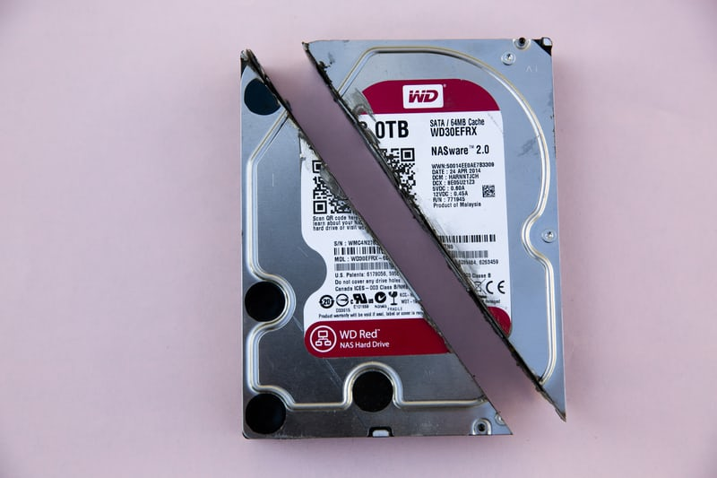 A computer hard drive split in two