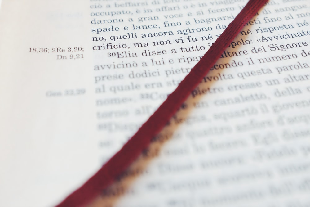 red string on book page