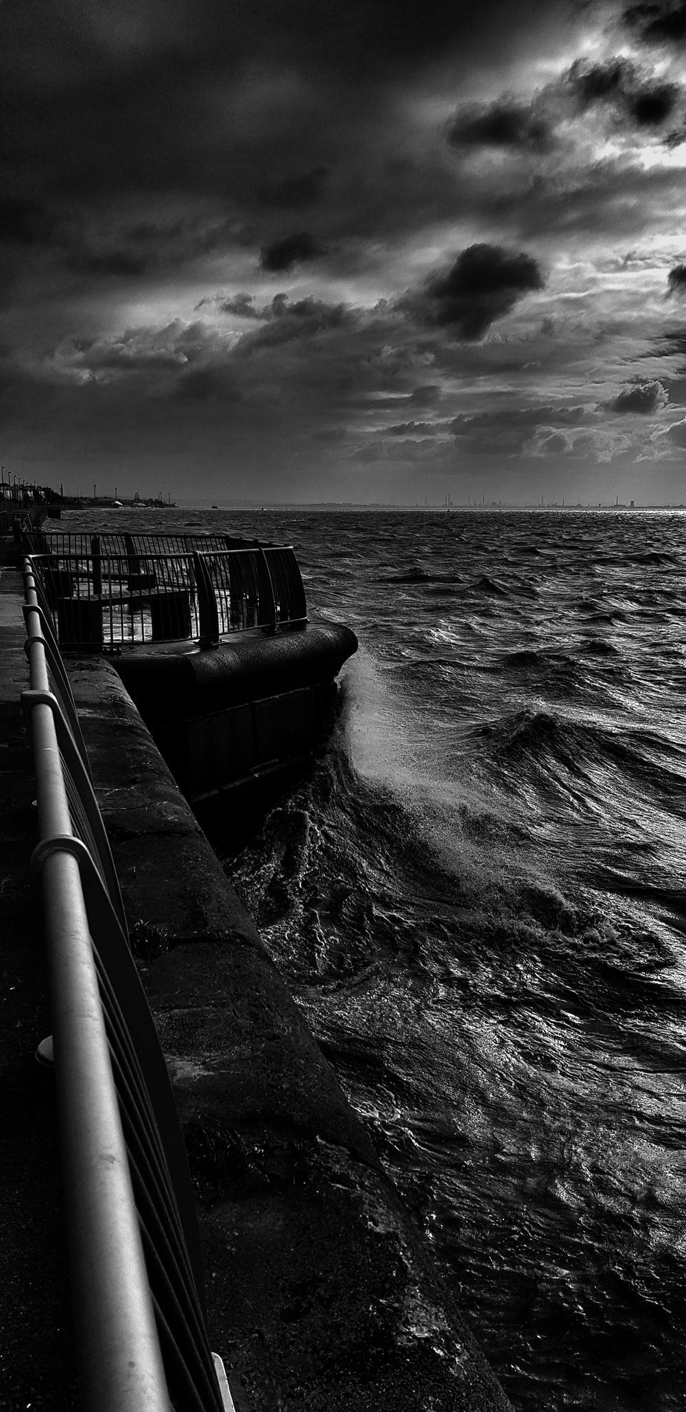 grayscale photography of sea