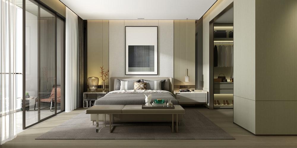gray bed in bedroom