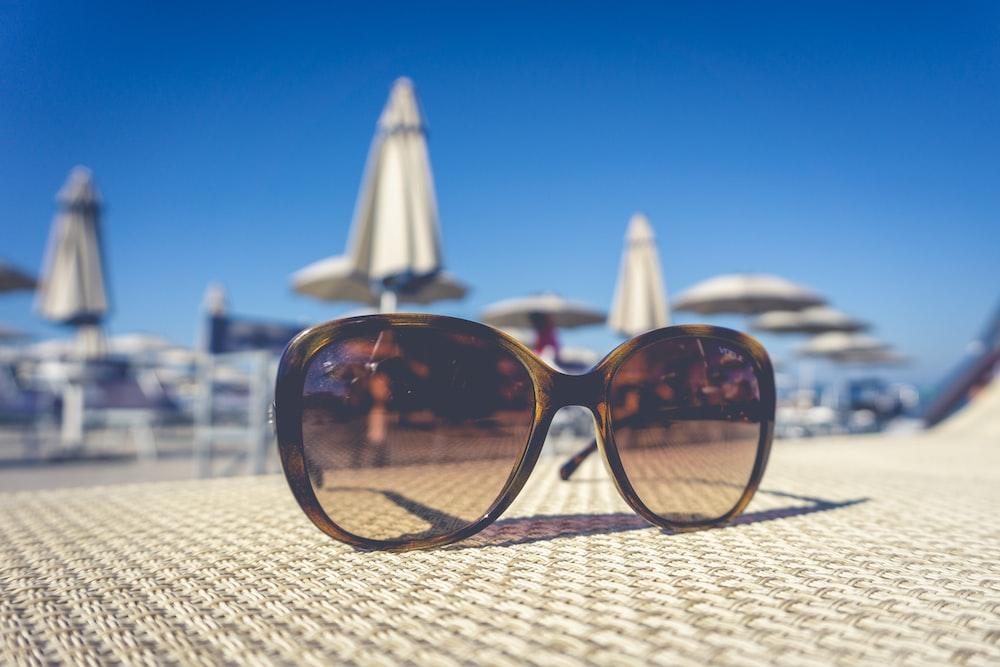 black farmed oversized sunglasses close-up photography