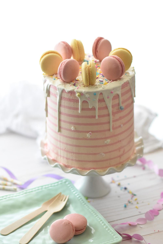 macaroon on cake