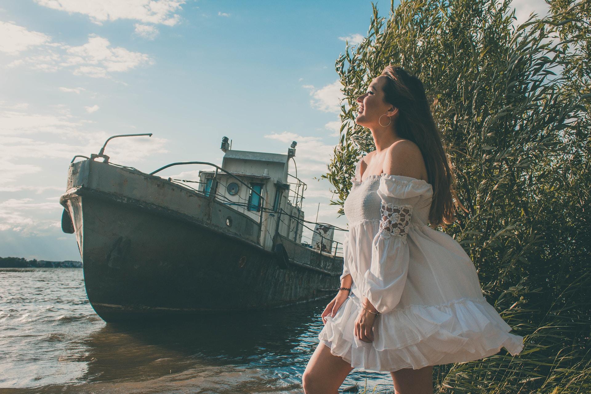 woman near ship