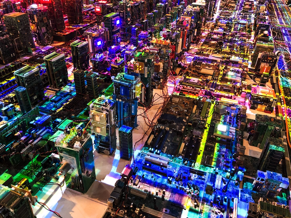 aerial photo of lighted cityscape