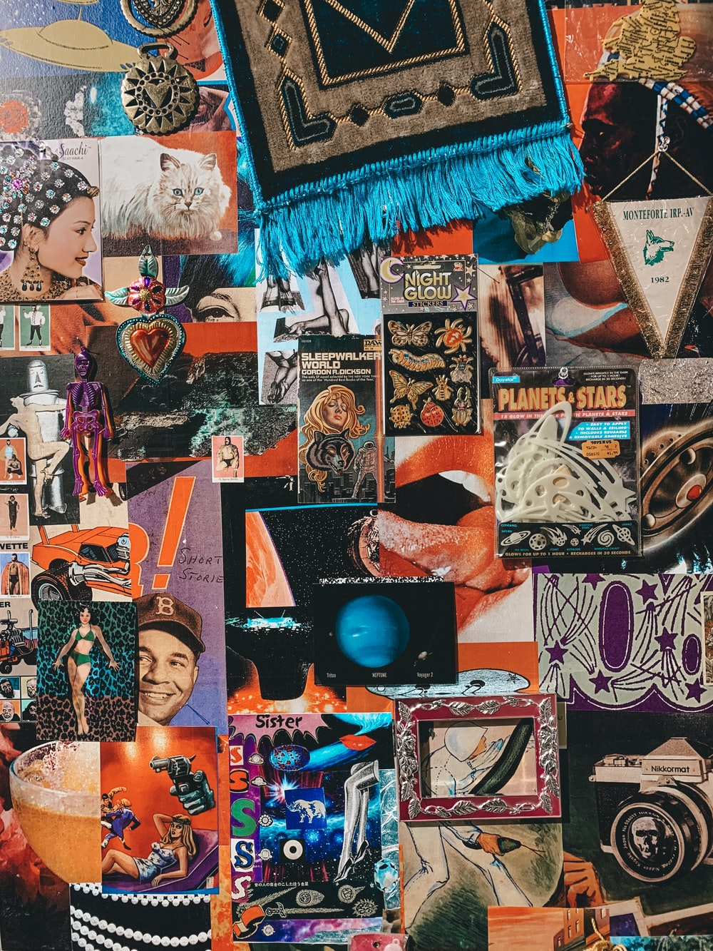assorted wall art on wall