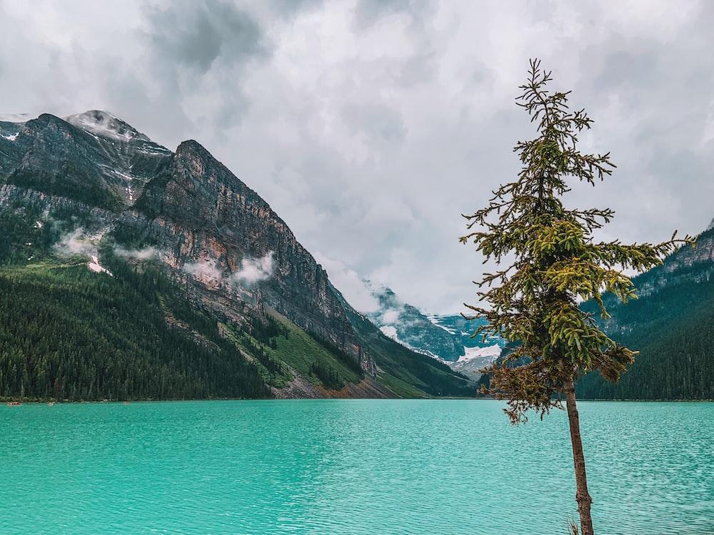 gray stone mountain over the lake