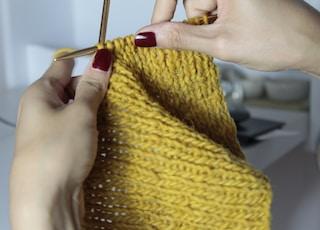 yellow crochet textile