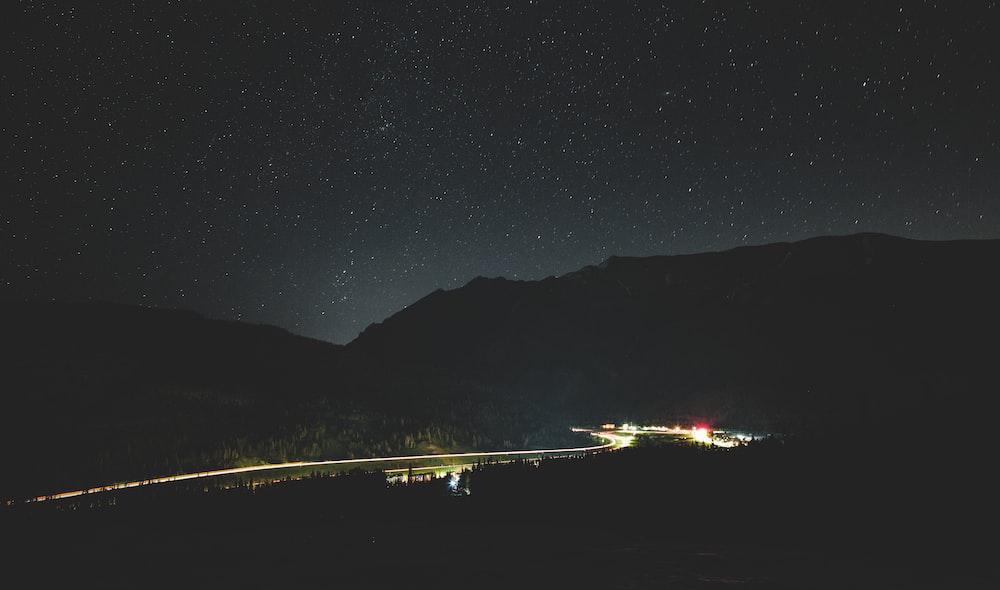 lighted city at night