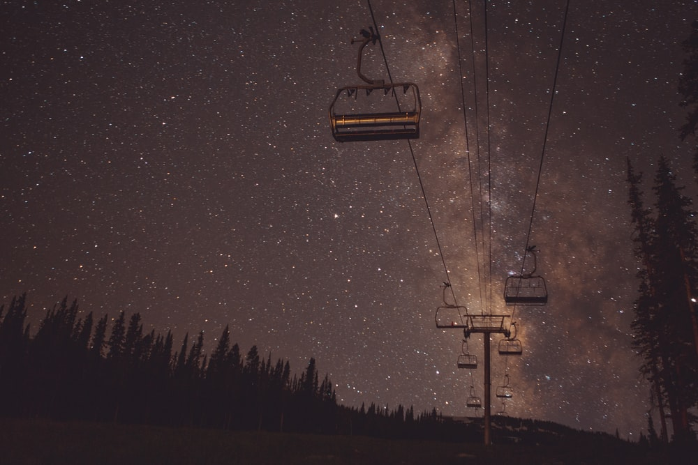 cable cars viewing trees at night time