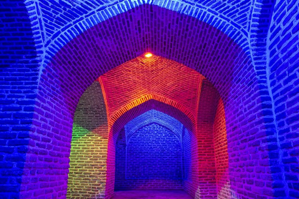 multicolored brick wall light