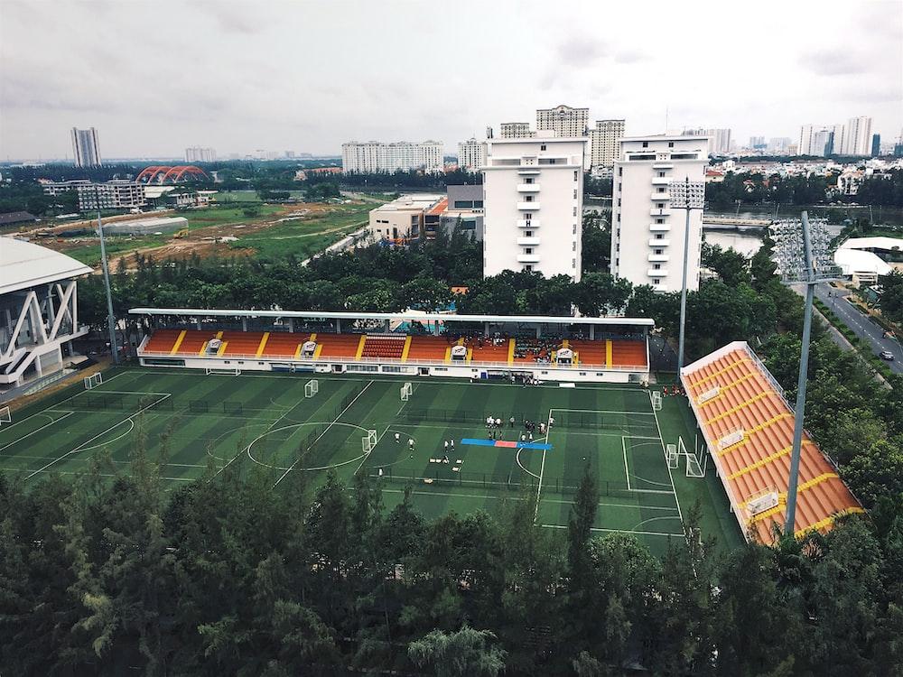 bird's eye view of a green football field