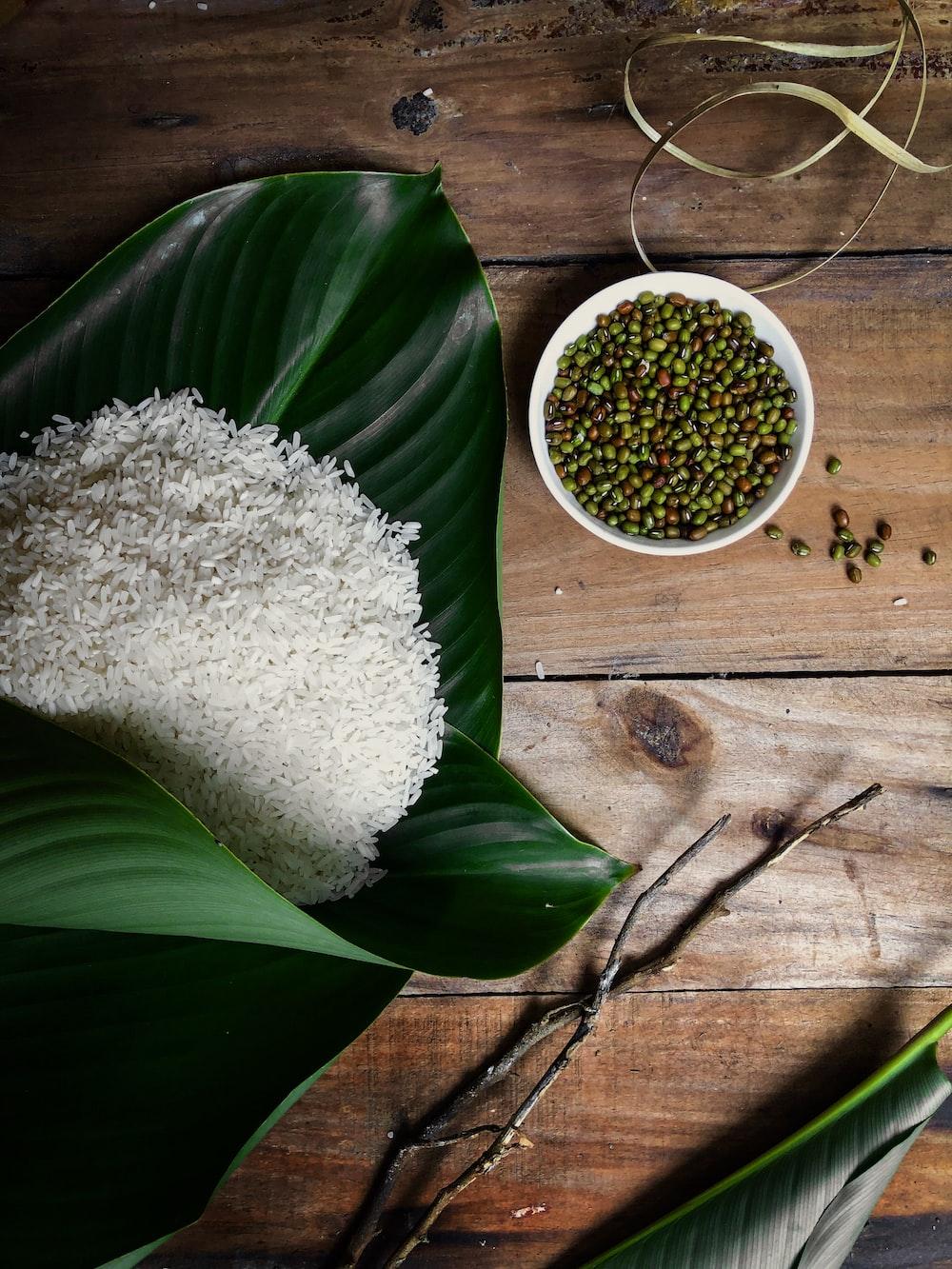 steamed rice beside beans