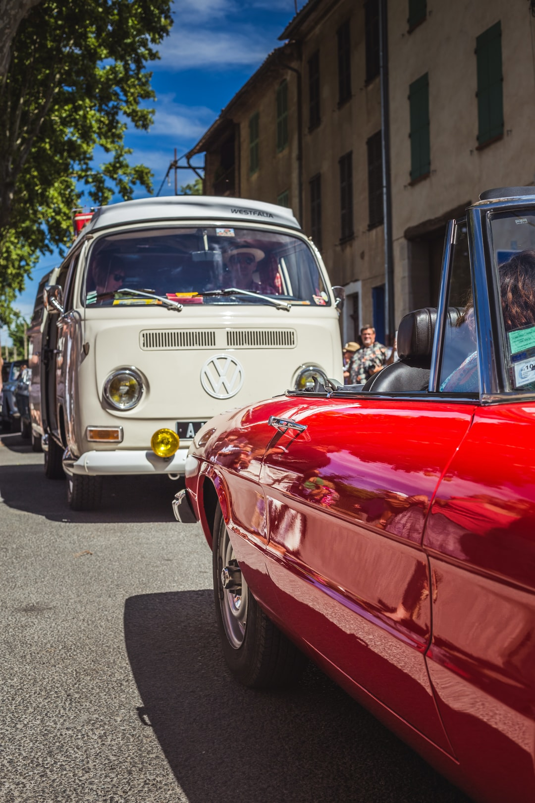 Old van volkswagen on road Nationale 7 in South of France
