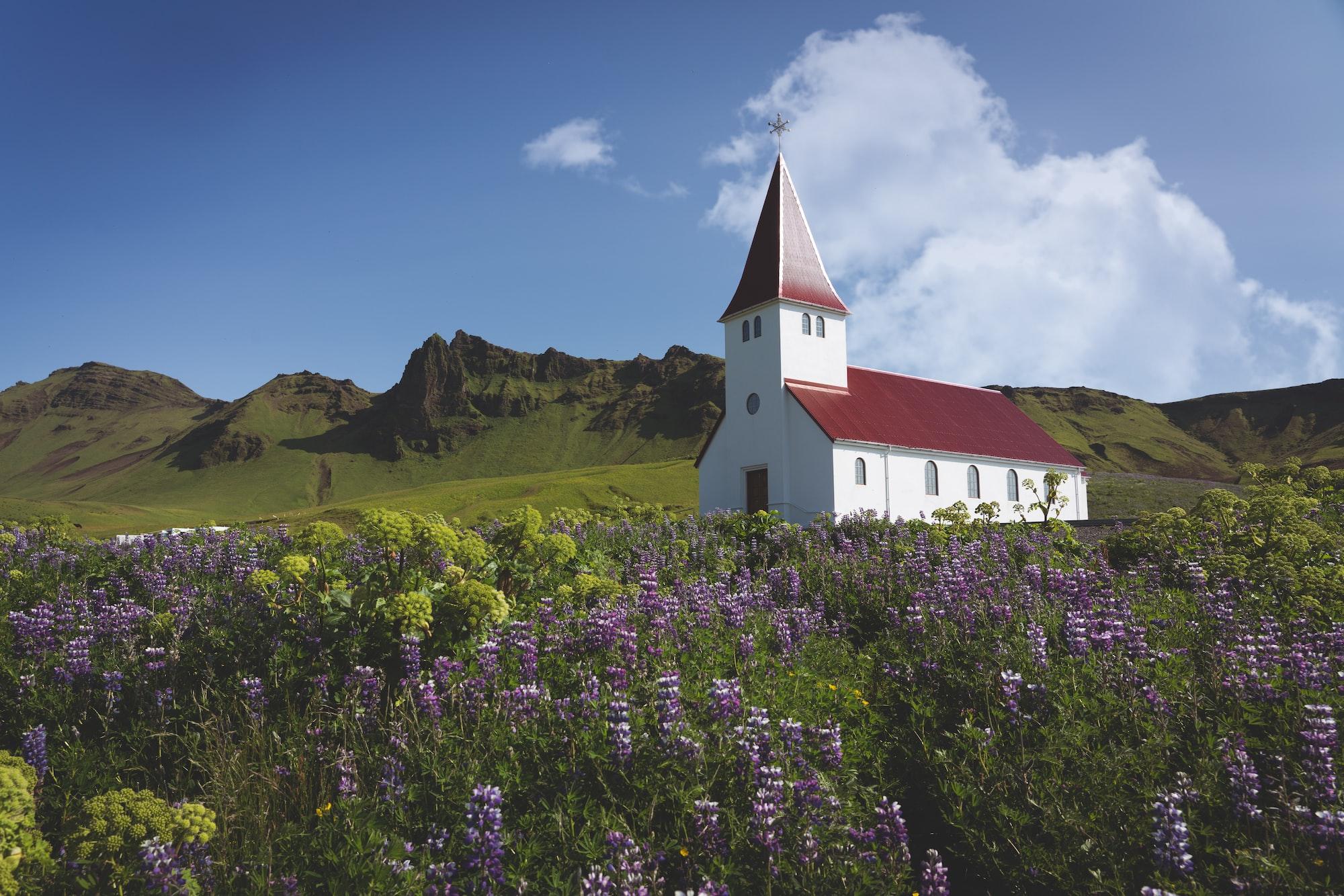 The beautiful church at Vík í Mýrdal, Iceland.