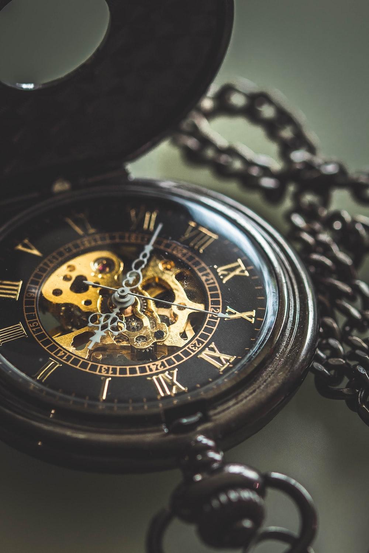 black pocket watch