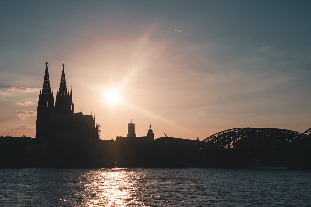 silhouette of castle during sun rise
