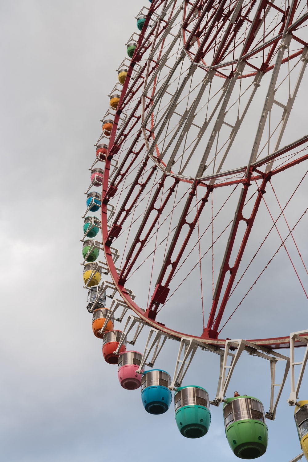 low-angle photography of a Ferris Wheel under cloudy sky