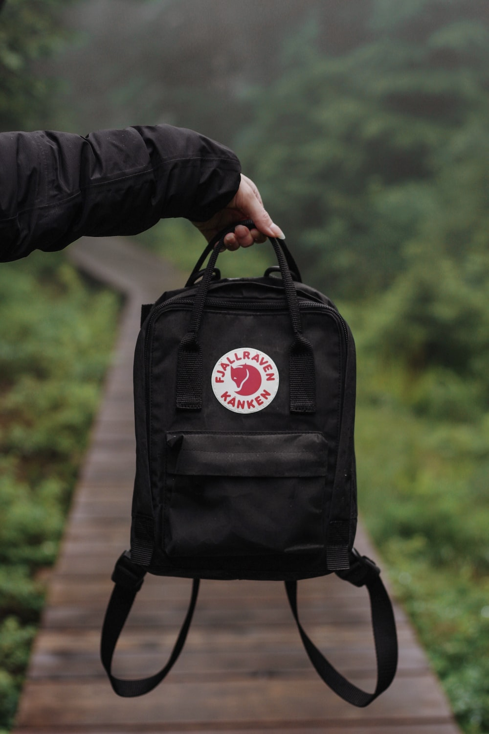 person holding black and red leather backpack