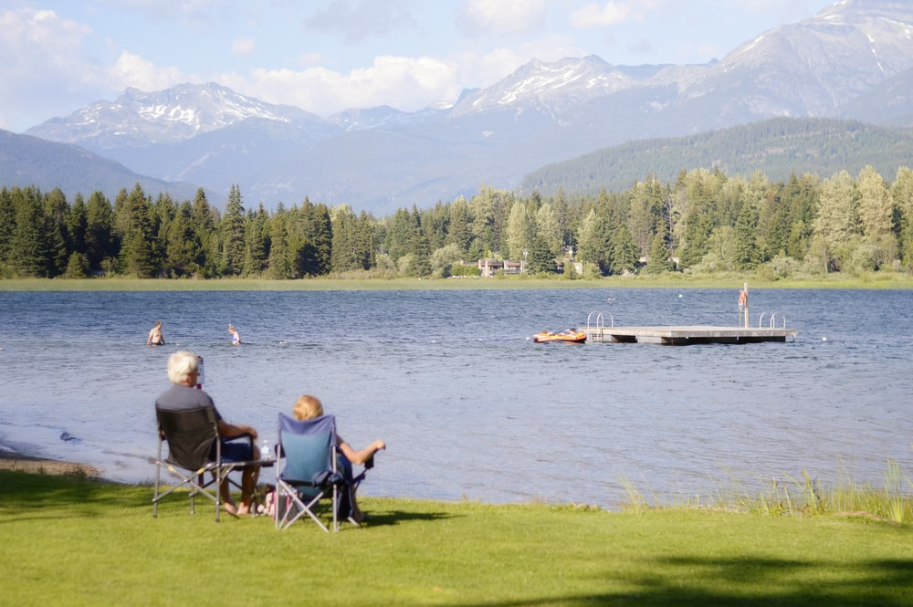 two persons sitting on grass facing the lake