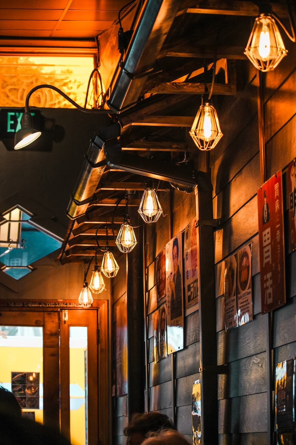 lighted pendant lamps inside building