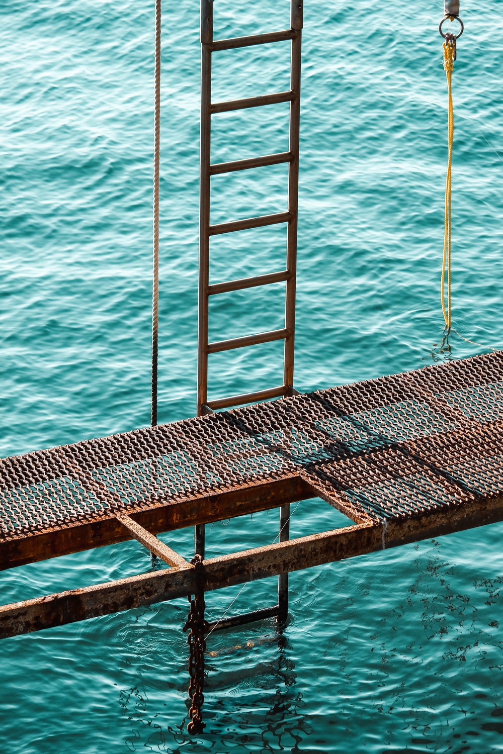 gray metal ladder on body of water