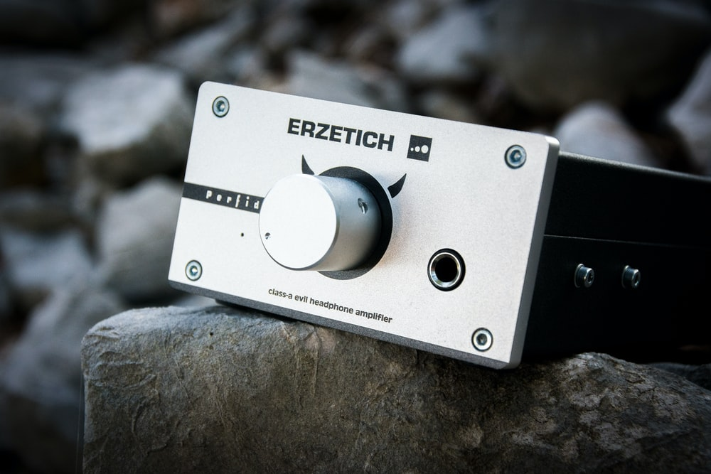 silver and black Erzetich electronic console