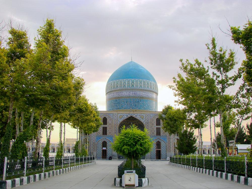 blue temple beside trees
