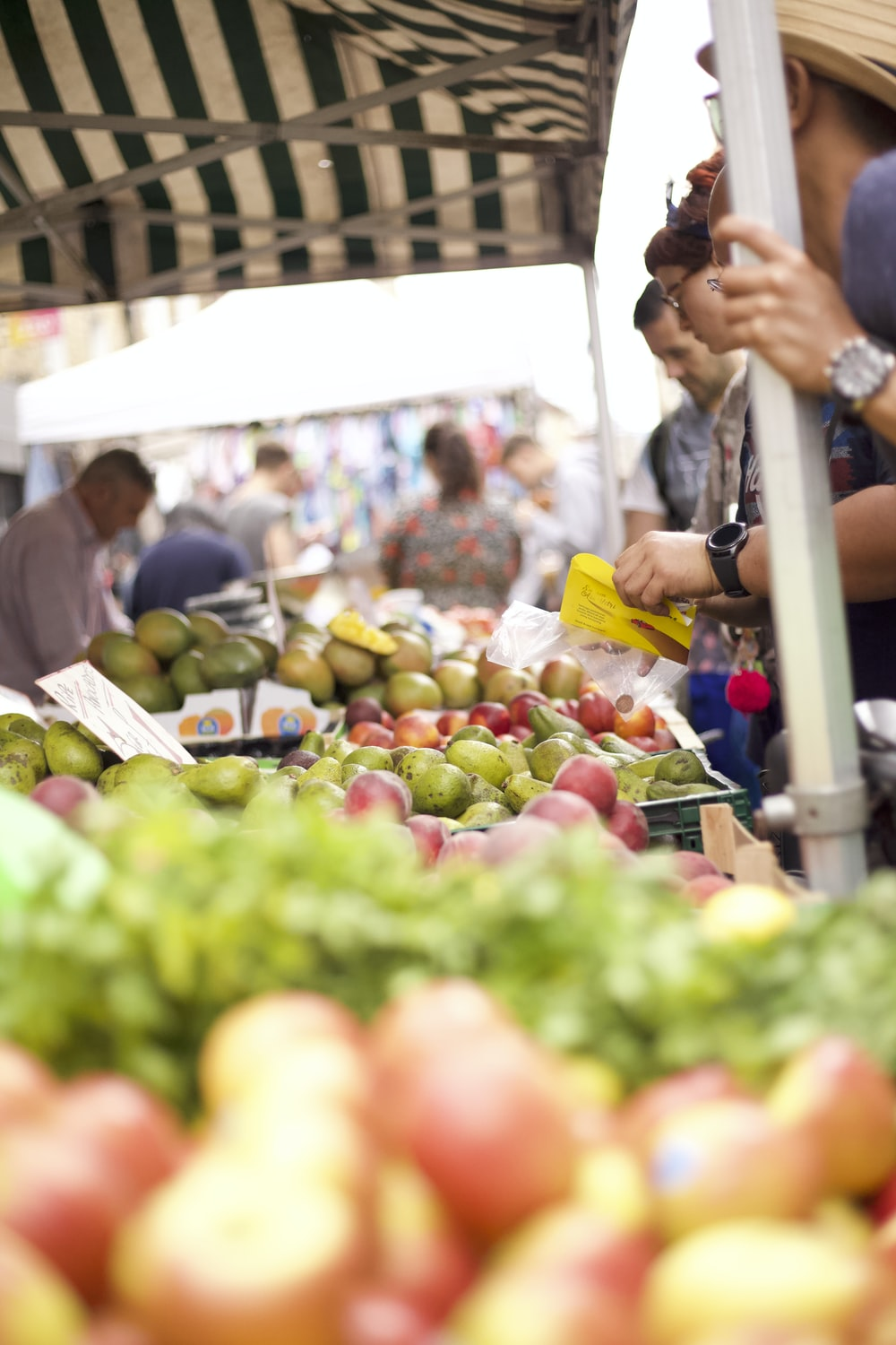 photo of people buying fruits on stall