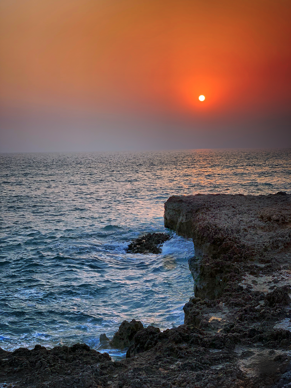 photograph of seashore during sunset