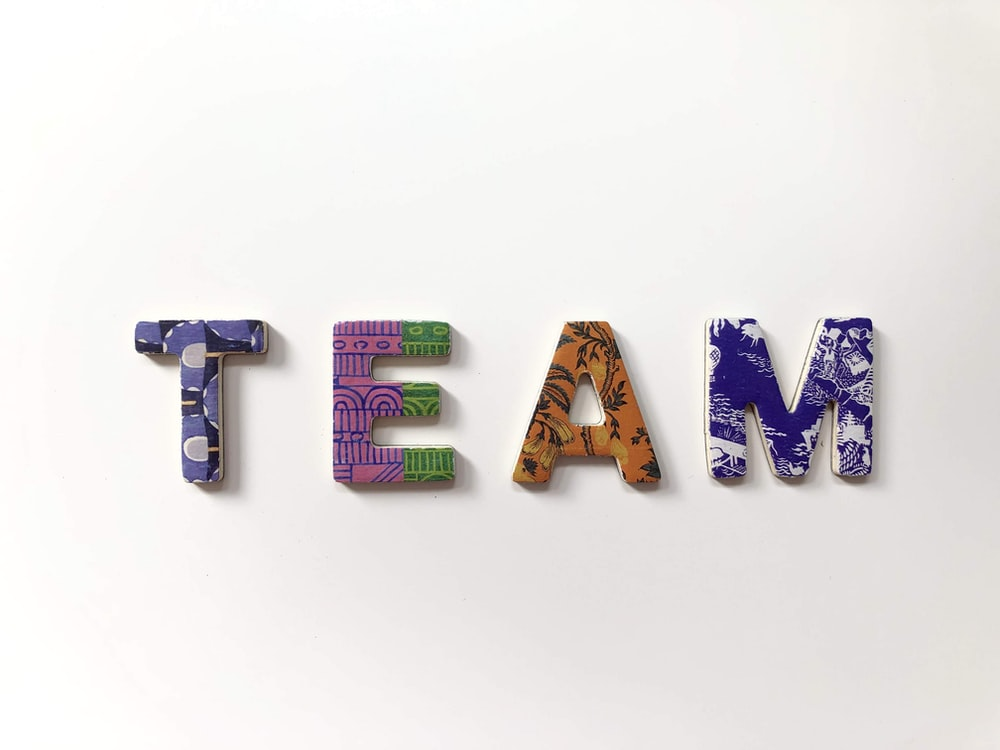 team freestanding letters