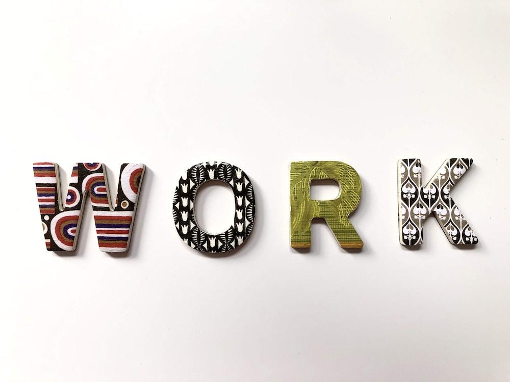 work freestanding letters
