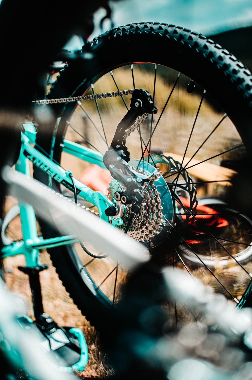 teal and white bike