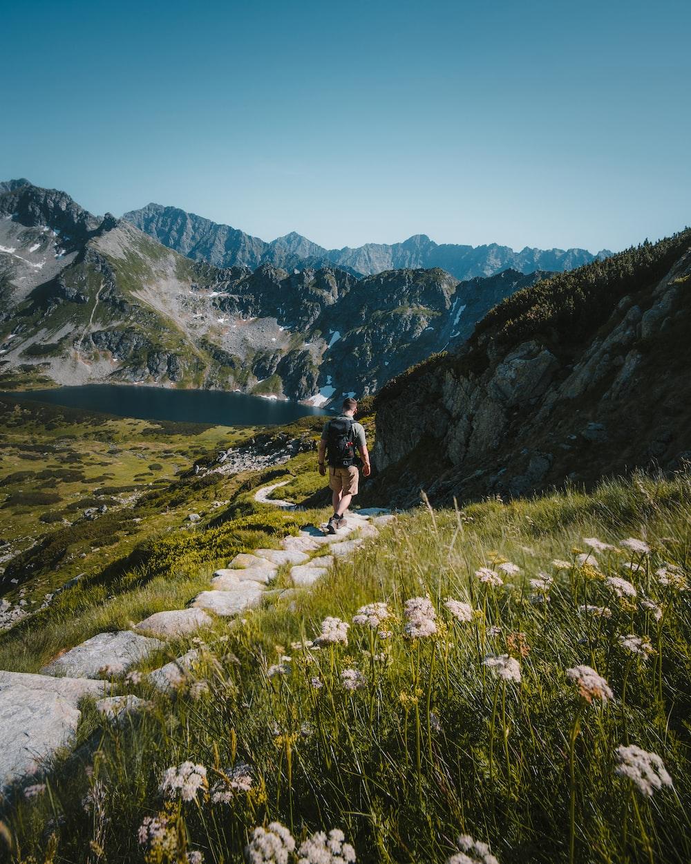 person walking towards mountain during daytime