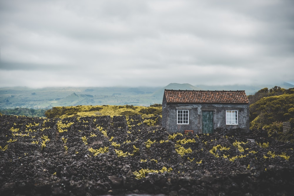 gray and brown house under cloudy sky